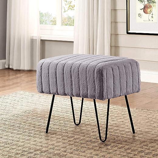 مقعد حمام من Home Soft Things Super Mink ottoman ، مقاس 48.26 سم × 33.18 سم × 43.18 سم ، باللون الفحمي