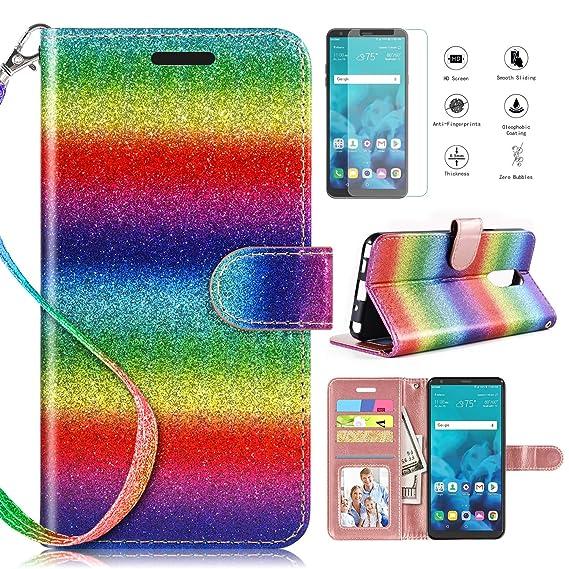 buy popular 0f91b 96f01 LG Stylo 4 Case 2018,LG Stylo 4 Phone Case Wallet Case w Screen Protector,  Kickstand Card Slots Wrist Strap 2 in 1 Glitter Magnetic Flip PU Leather ...
