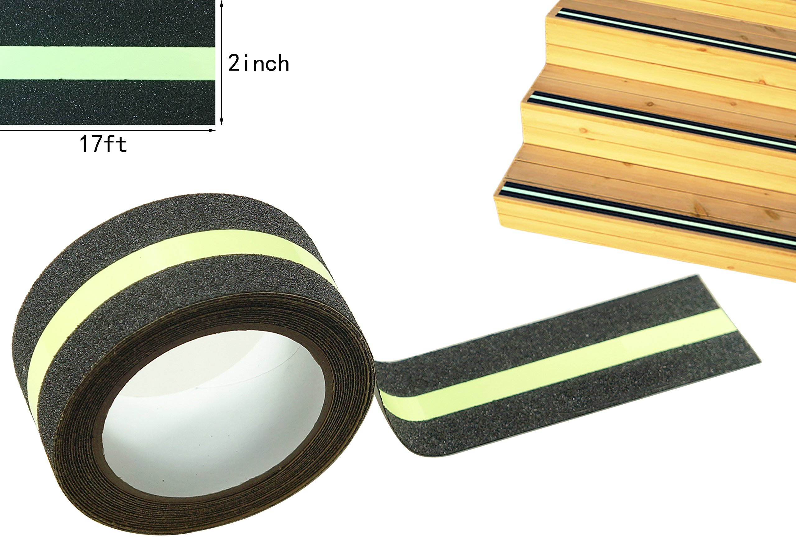 Anti Slip Traction Tape, None Skid Glow in The Dark Safety Walk Tape with 3M Best Grip Abrasive Adhesive for Stairs, Tread Step, Resistant, 2'' Wide 17' Long Roll