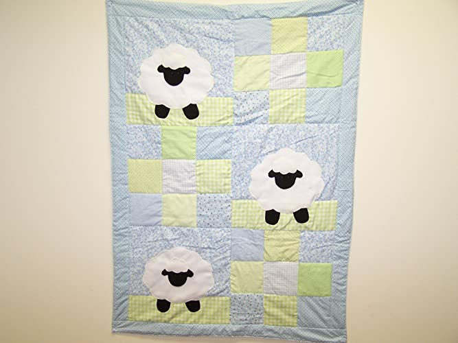 af7fc502bcdd09 Amazon.com  Hand Appliqued Lamb with Blue and Green Patchwork Baby ...
