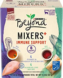 Purina Beyond Natural Wet Cat Food Complement Variety Pack, Mixers+ Immune Support Recipes - (2 Packs of 8) 1.55 oz. Pouches