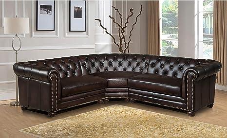 Amazon.com: Hydeline Aliso 100% Leather Sectional Sofa, 3 ...