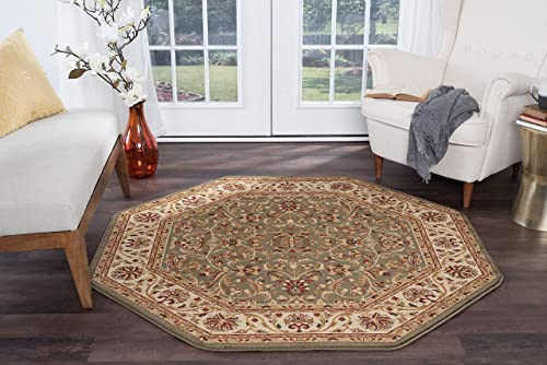 Ventura Transitional Oriental Green Octagon Area Rug, 8 Octagon
