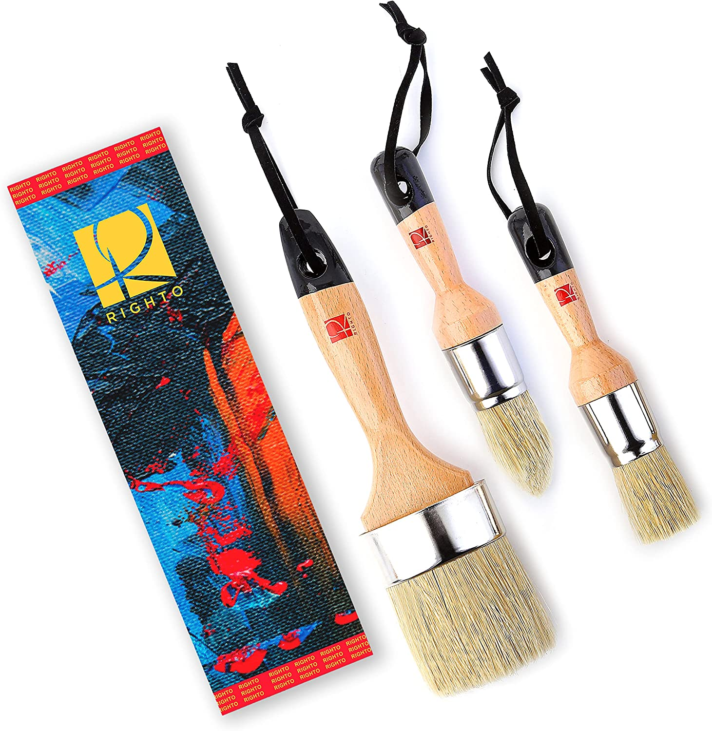 Professional Chalk Wax paint brush 3PC Large & Small Round Stencil Paint Brushes set for Furniture Painting, Compatible with Annie Sloan, Bb Frosch, Fusion Mineral, Dixi Belle, and Waverly Chalk Paint