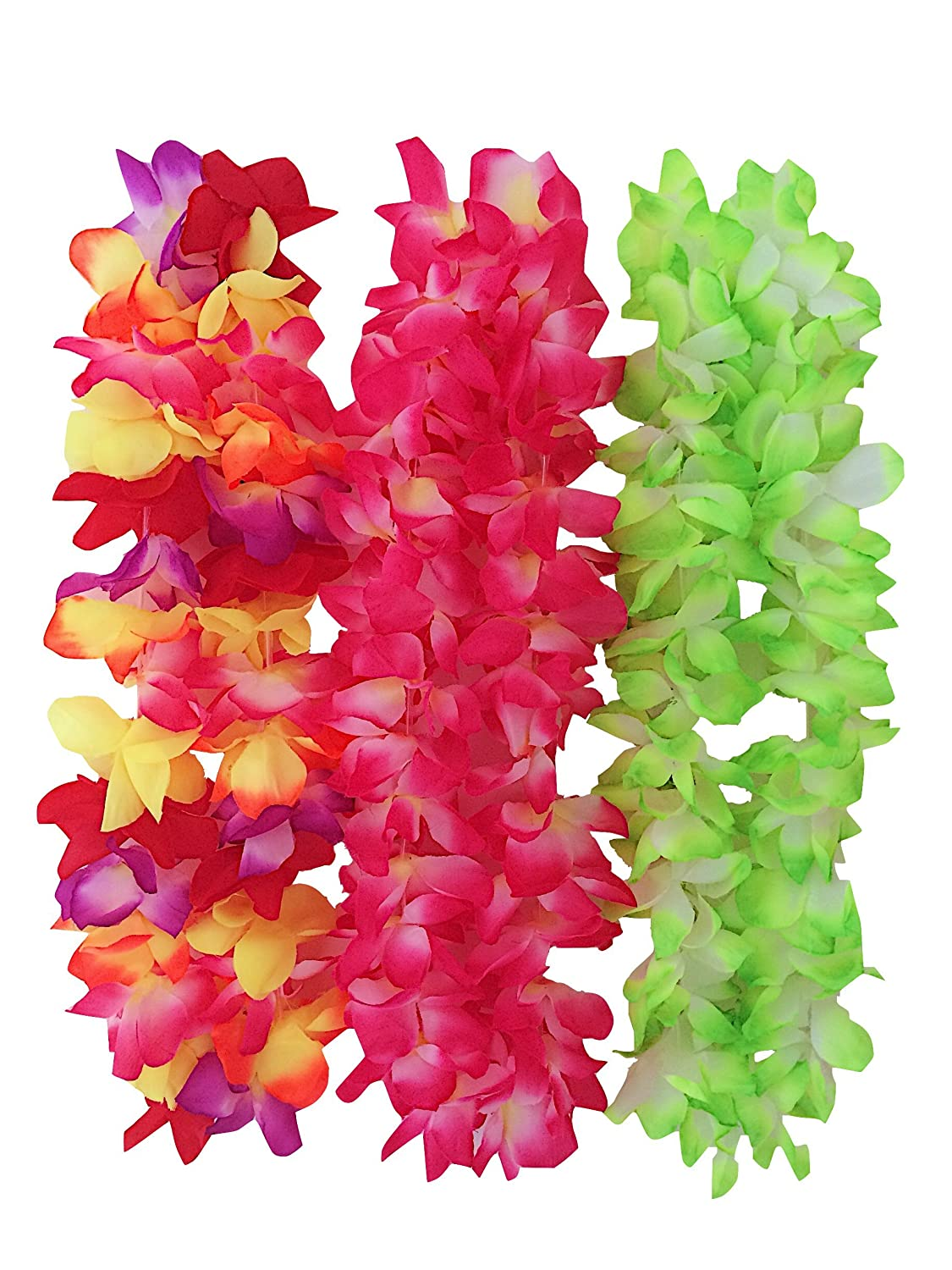Amazon.com: 12 High Quality Hawaiian Leis That LOOK REAL - Polyester ...