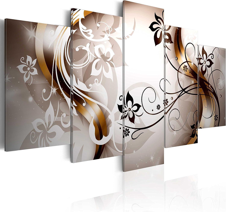 murando - Cuadro en Lienzo 200x100 cm Flores - Abstracto Impresión de 5 Piezas Material Tejido no Tejido Impresión Artística Imagen Gráfica Decoracion de Pared Arte 020110-149
