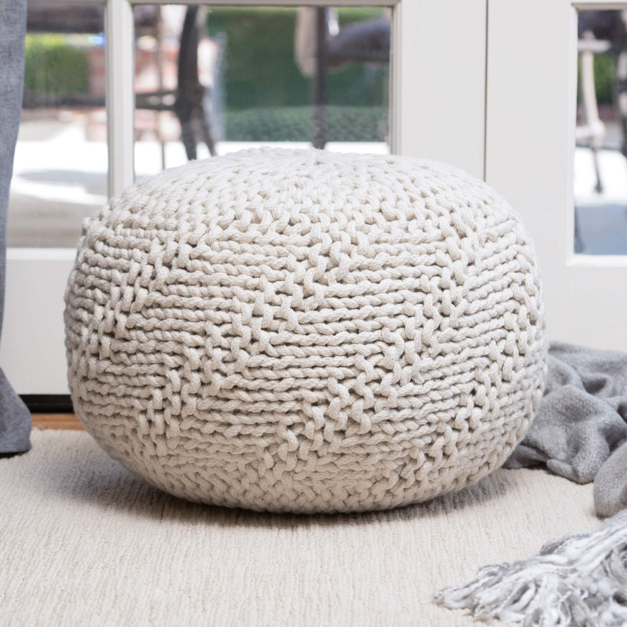 MISC Rope Ottoman, Ivory Off White Weaved Fabric Knit Rows Round Pouf Textured Footstool Beads Fill, Durable Knitted Circle Footrest Stool for Indoor Outdoor Sitting Area, 14'' Circular Shape