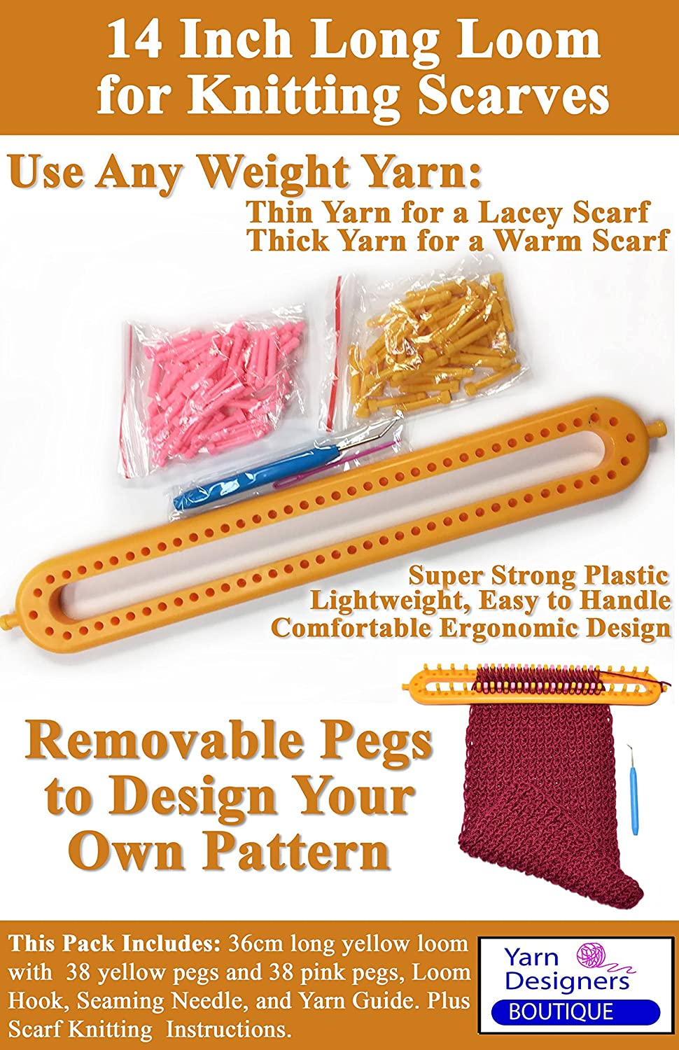 Amazon.com: Long Scarf Knitting Loom with Removable Pegs, Knitting ...
