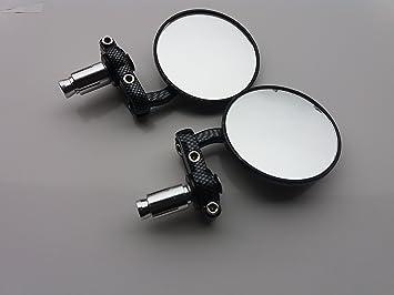 Bar End Spiegels : Set zwarte cnc bar end spiegels ovaal caferaceronderdelen