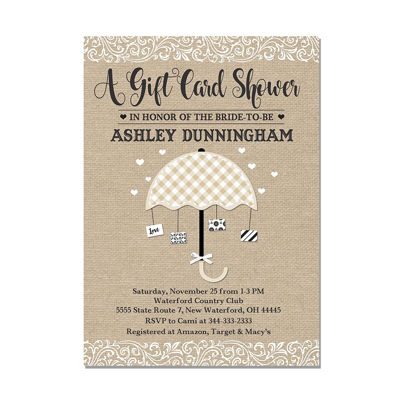 Amazon Com Gift Card Bridal Shower Invitation Burlap Look