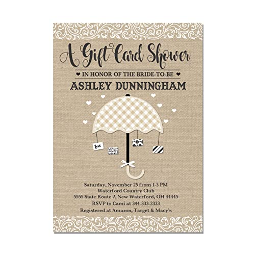 gift card bridal shower invitation burlap look with black and white base price is