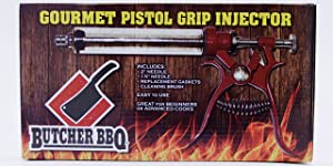 Butcher BBQ Pistol Grip Gourmet Meat Injector Metal Handle 50cc Pistol Grip Syringe with 2 Different Needles for Different Meats