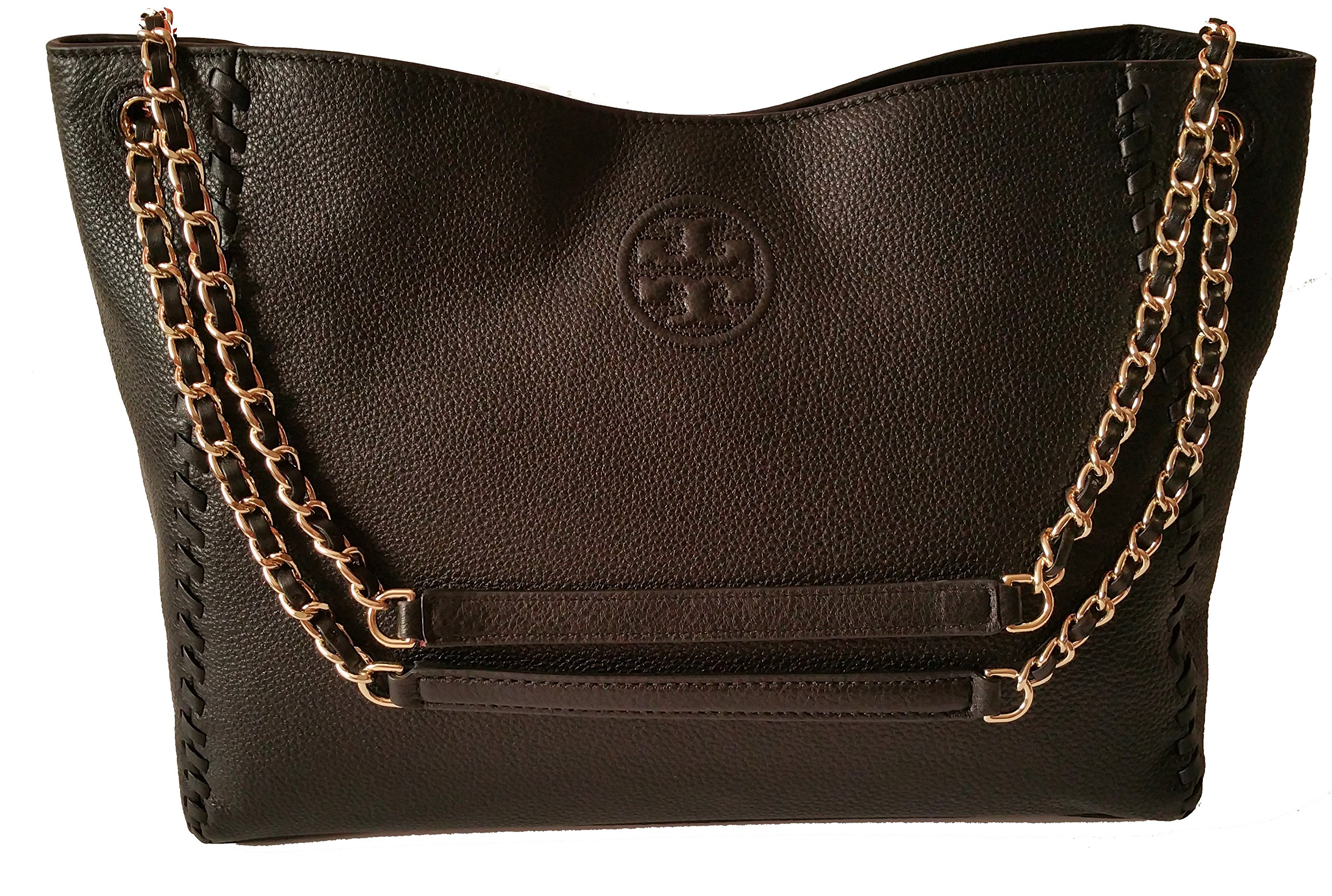 Tory Burch Marion Slouchy Shoulder Tote Black Leather Bag
