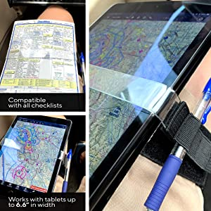 Destination Departure Pilot Leg Strap Adjustable Approach Plate Tablet Checklist Kneeboard One Size Fits All Aviation