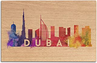 product image for Lantern Press Dubai, United Arab Emirates - Skyline Abstract (10x15 Wood Wall Sign, Wall Decor Ready to Hang)