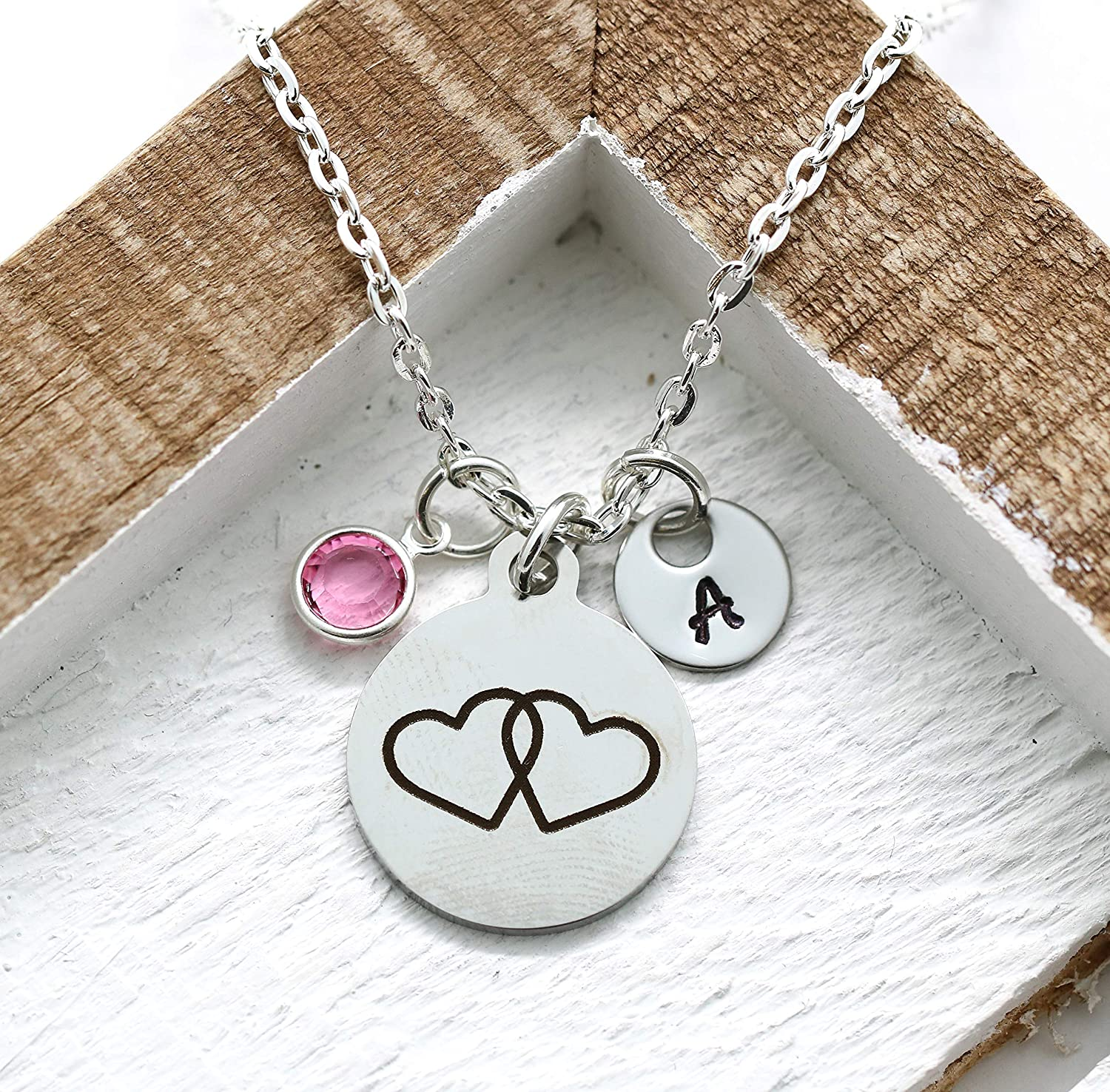 Personalized Wife Girlfriend Necklace for Her Valentines Birthday  Gift Double Hearts  Necklace for Women with Message  Card
