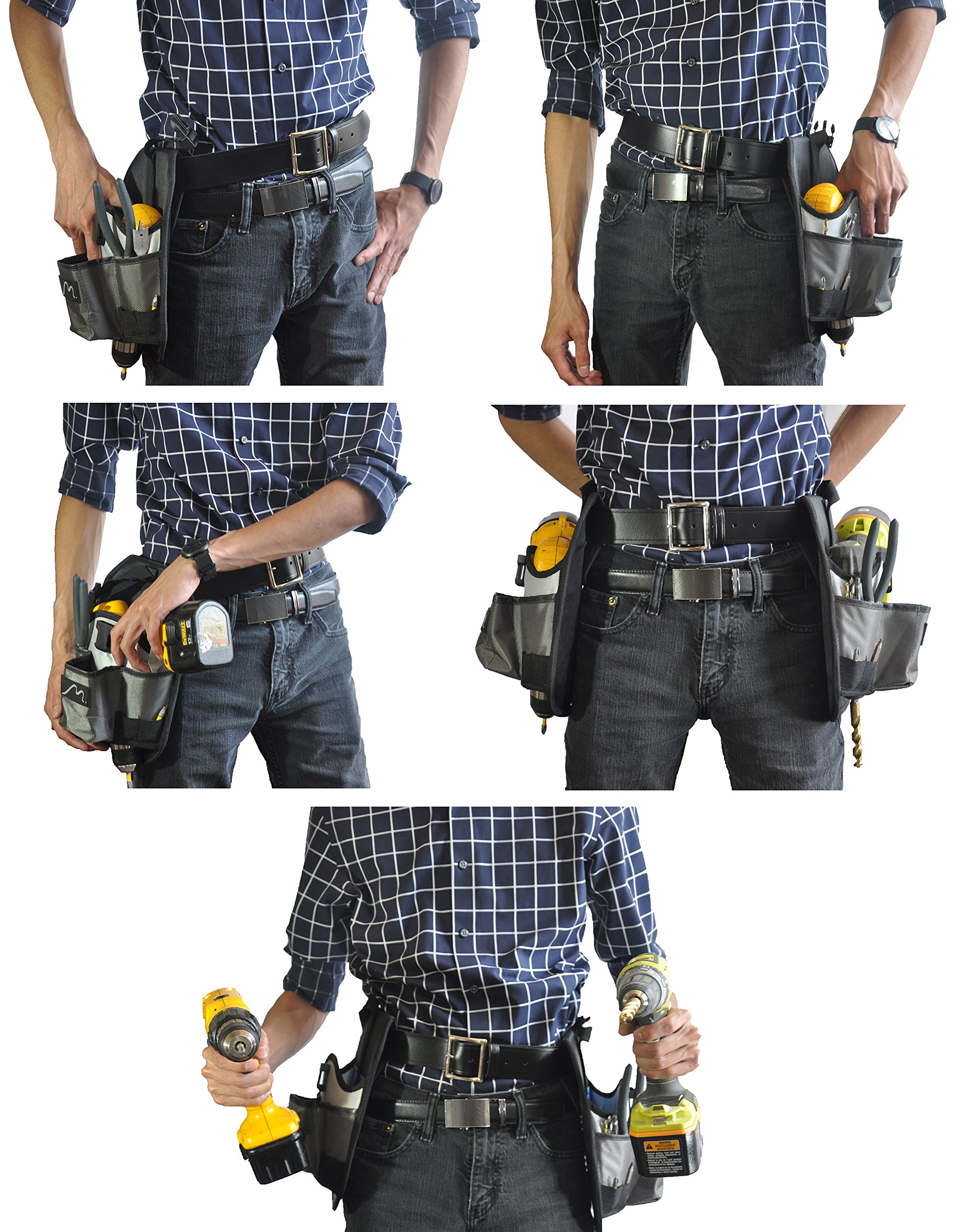 Cordless Drill Holster by Metier Life | Magnetic Organizer Pouches for Drill Bits and Extenders | Large Open Pocket for Screws and Accessories | Left Right Handed Use (Grey) by Metier Life (Image #4)