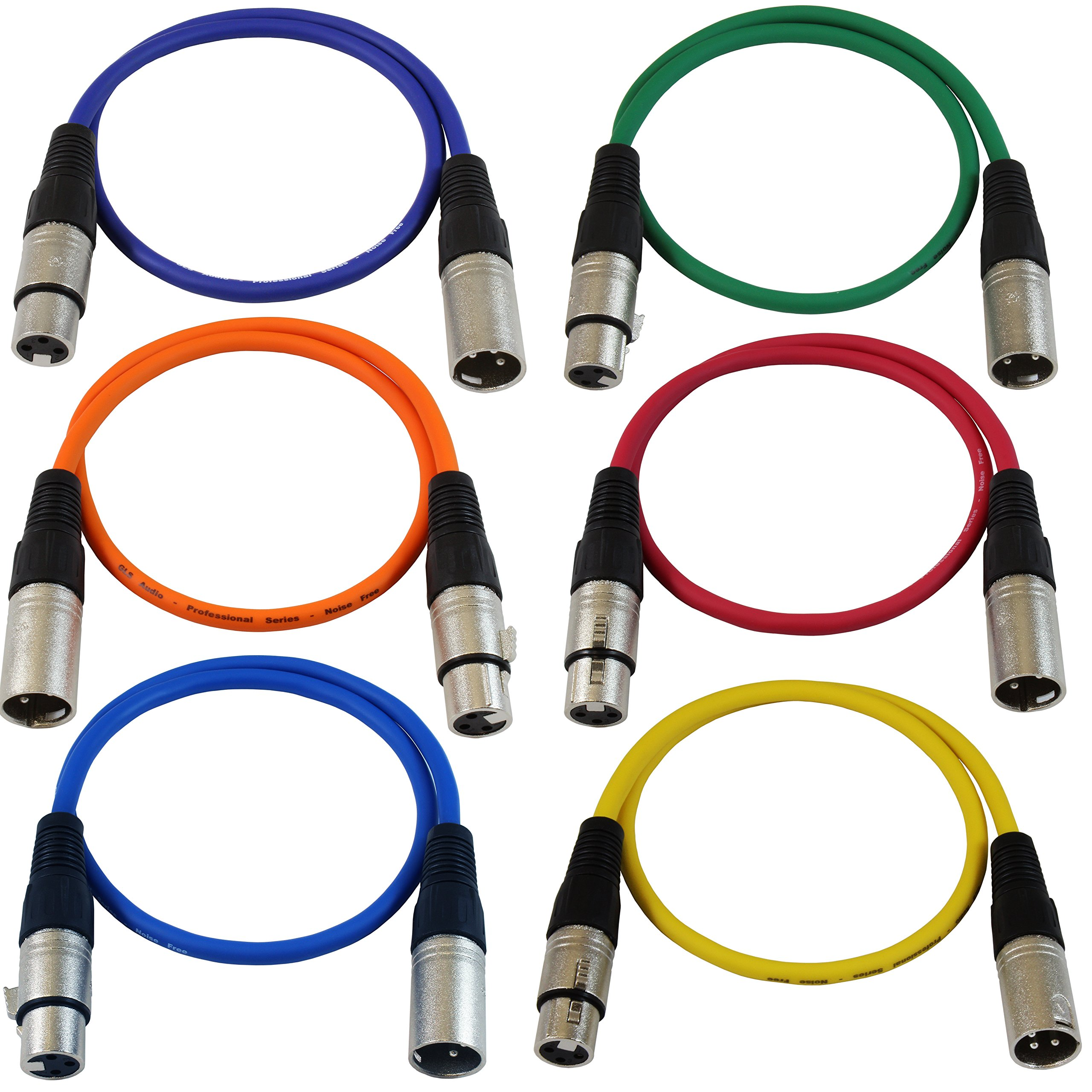 GLS Audio 2ft Patch Cable Cords - XLR Male to XLR Female Color Cables - 2' Balanced Snake Cord - 6 PACK by GLS Audio