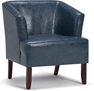 SIMPLIHOME Longford 29 inch Wide Mid Century Modern Tub Chair in Denim Blue Bonded Leather
