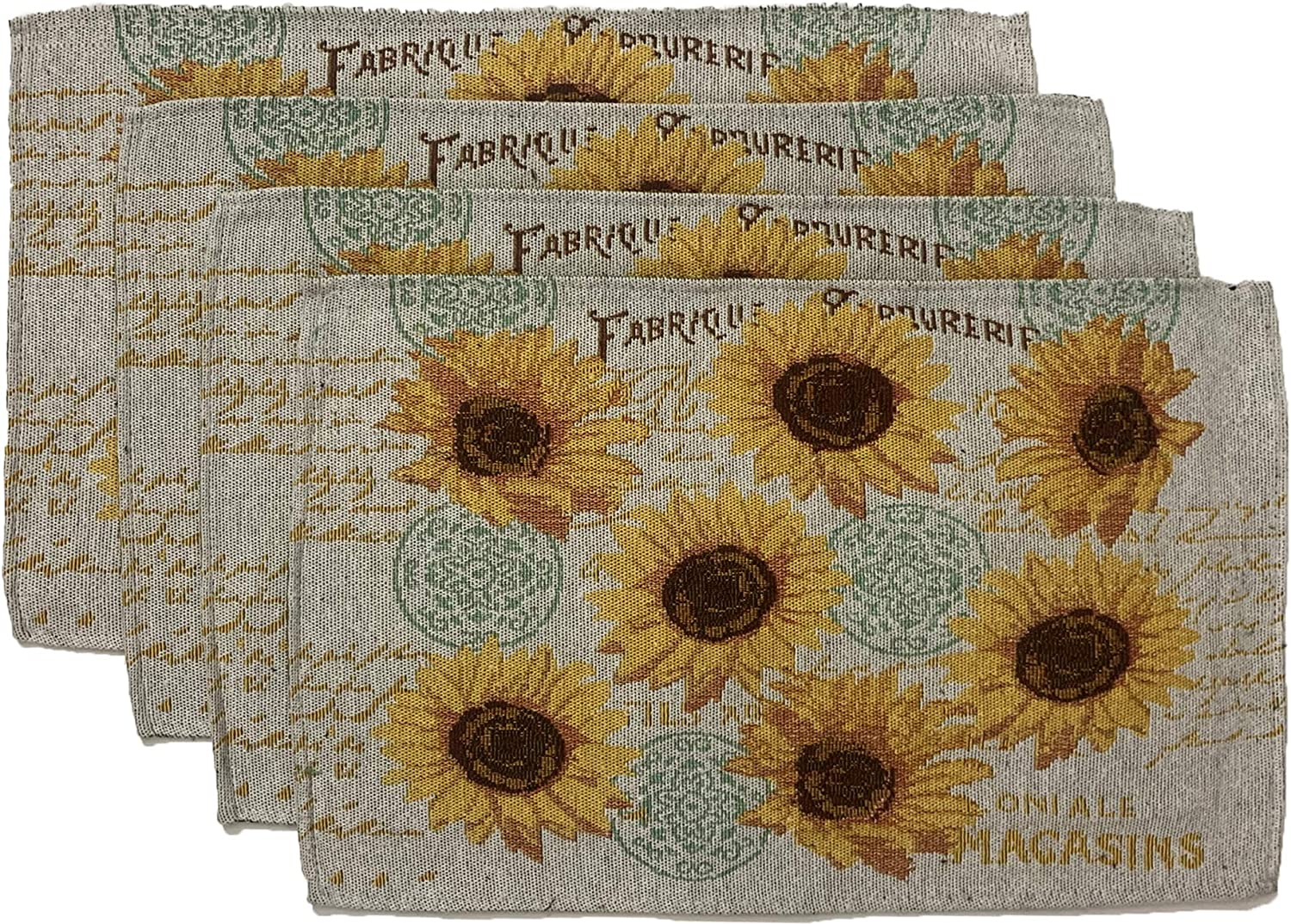Set of 4, Printed Decorative Floral Design Tapestry Placemats Size: 13
