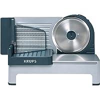 """Krups Aoste Profesional Cortafiambres, Cuchilla Universal """"Solingen"""" de 19 cm de diámetro y extraíble, Motor silencioso, 140 W, Plata"""