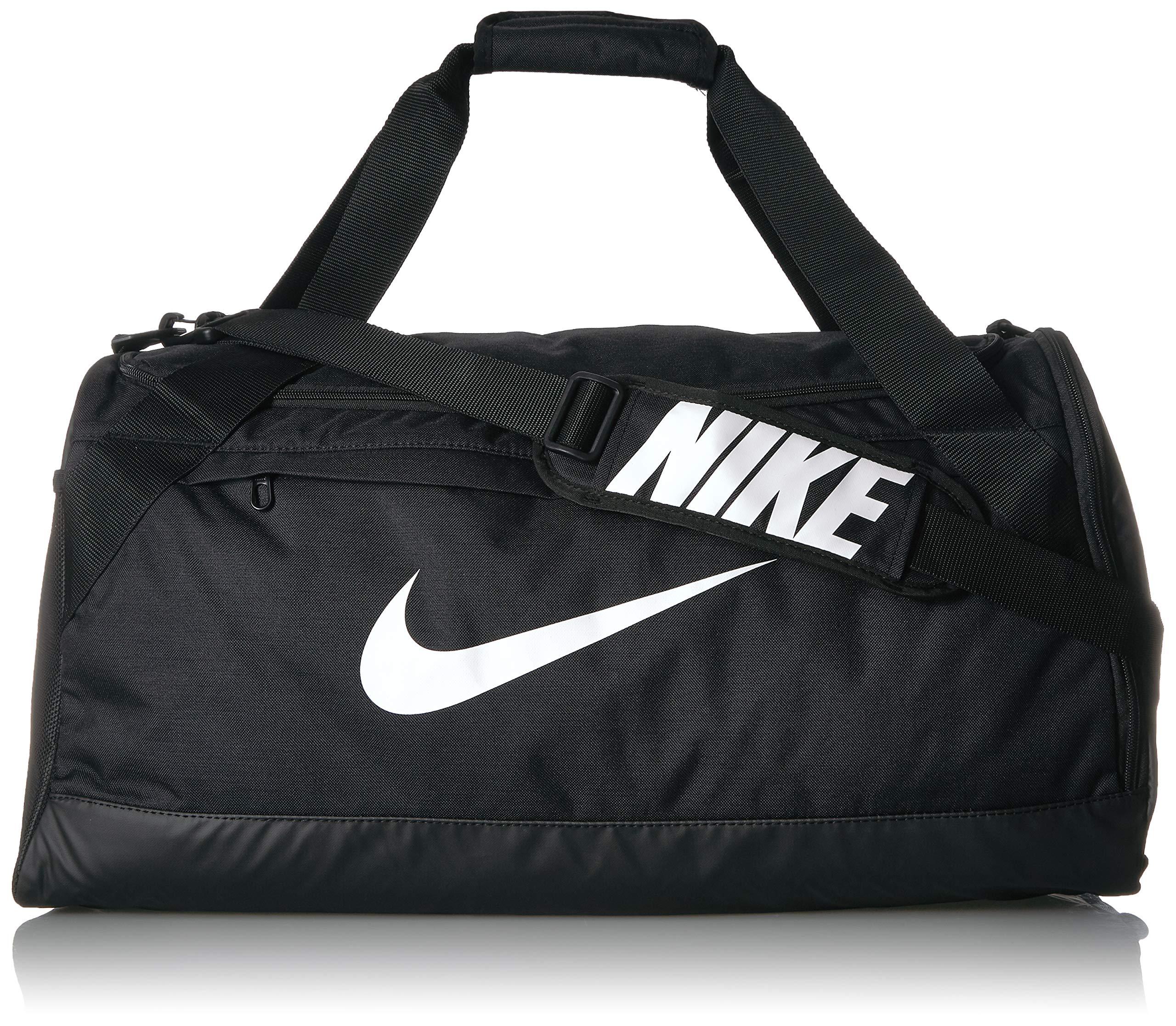 Nike Brasilia Training Duffel Bag, Versatile Bag with Padded Strap and Mesh Exterior Pocket, Medium, Black/Black/White