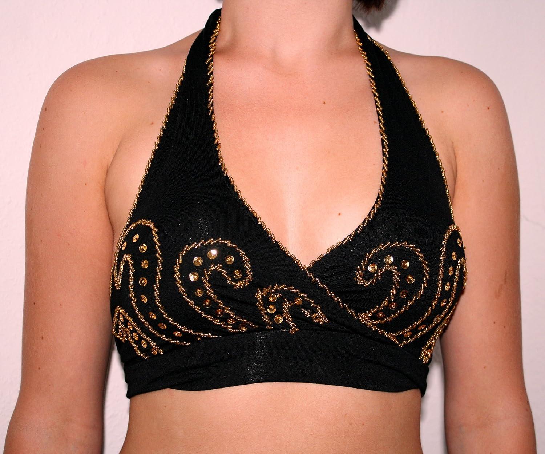 Turco Emporium de envolver tie top de danza del vientre con lentejuelas color negro