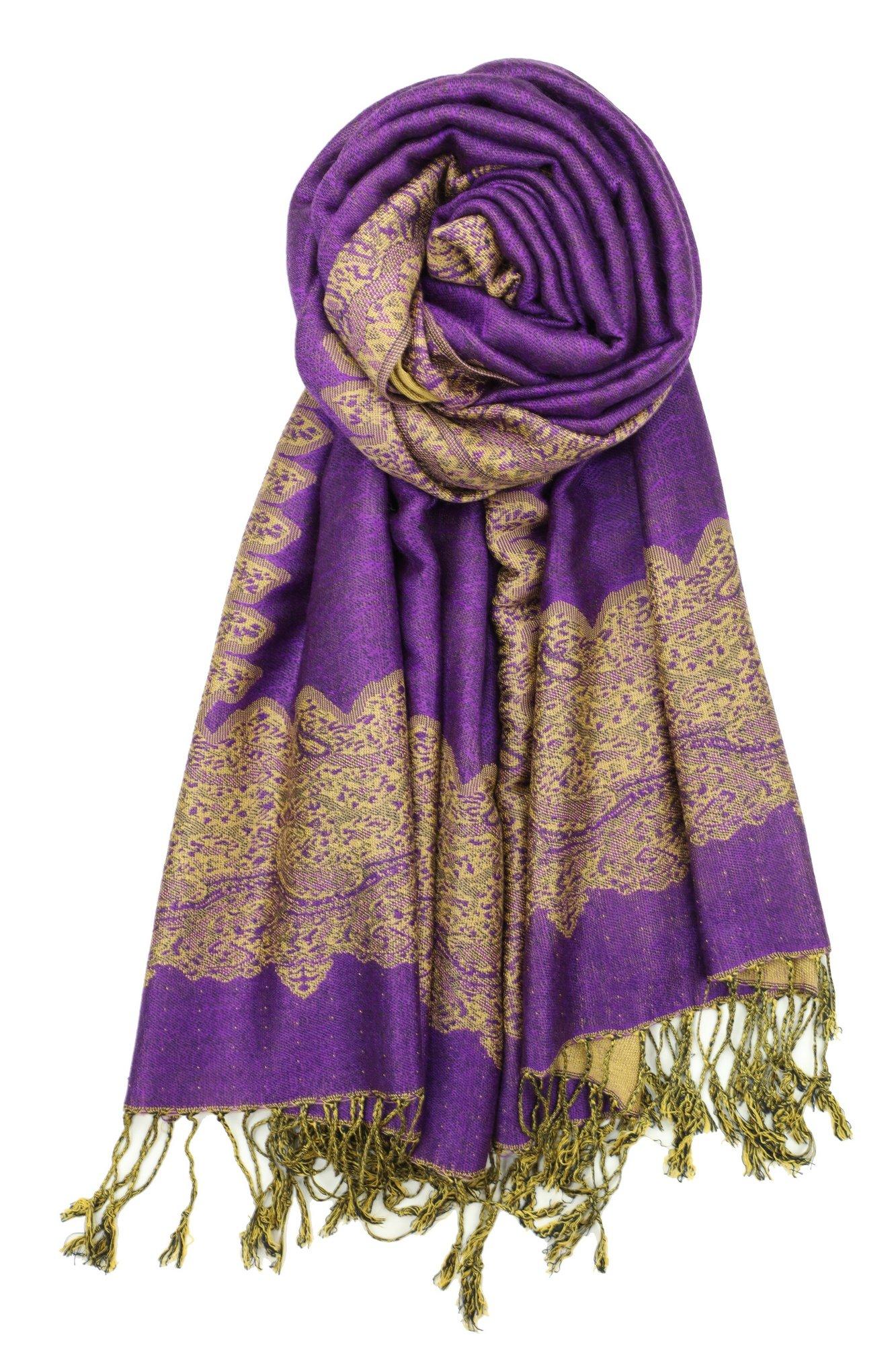Achillea Elegant Reversible Paisley Border Pattern Pashmina Shawl Wrap Scarf (Purple)