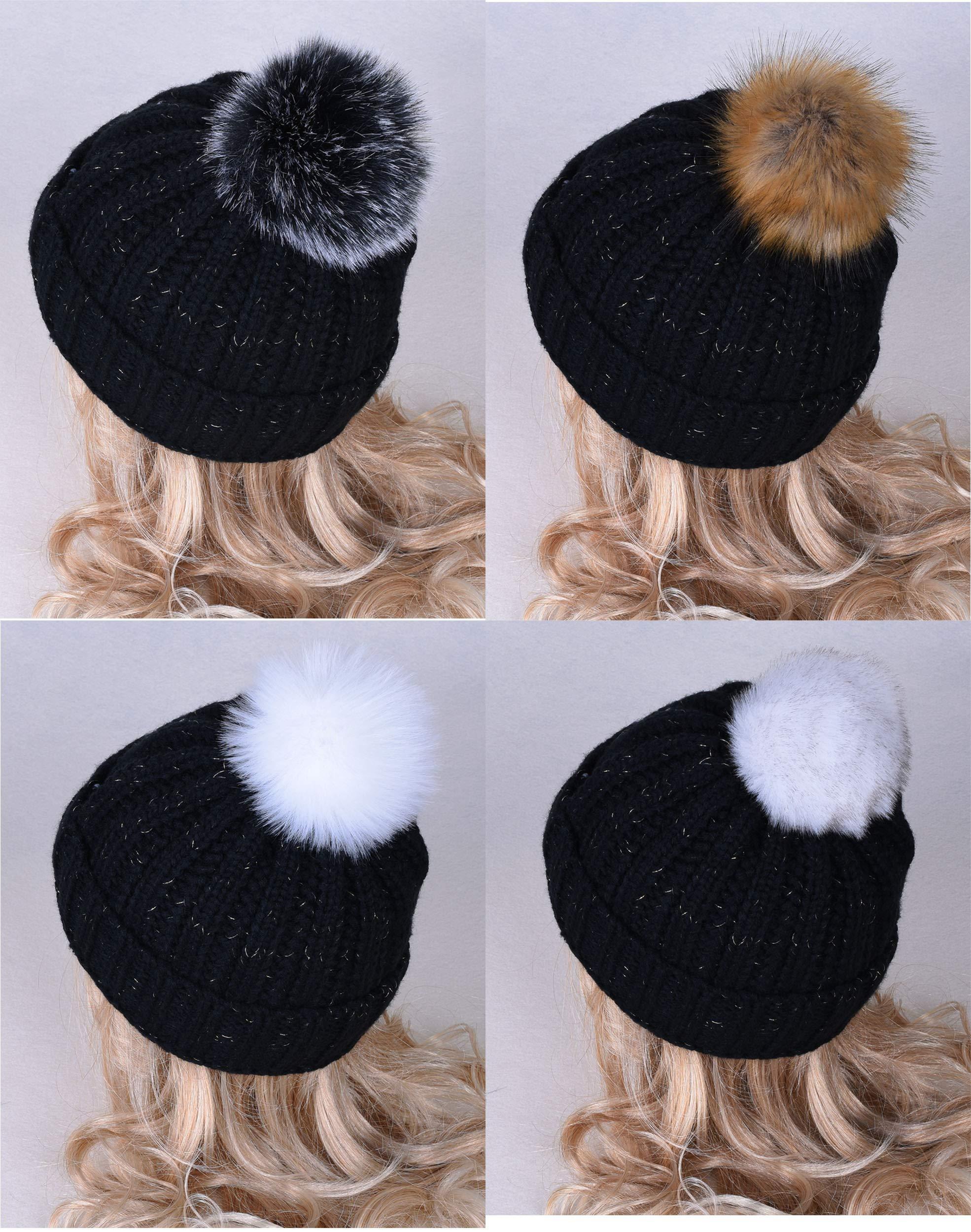LEKUSHA DIY 12pcs Faux Fox Fur Pom Pom Ball for Knitting Hat, Beanie Hat Fur Ball, Attachable Pompom Ball