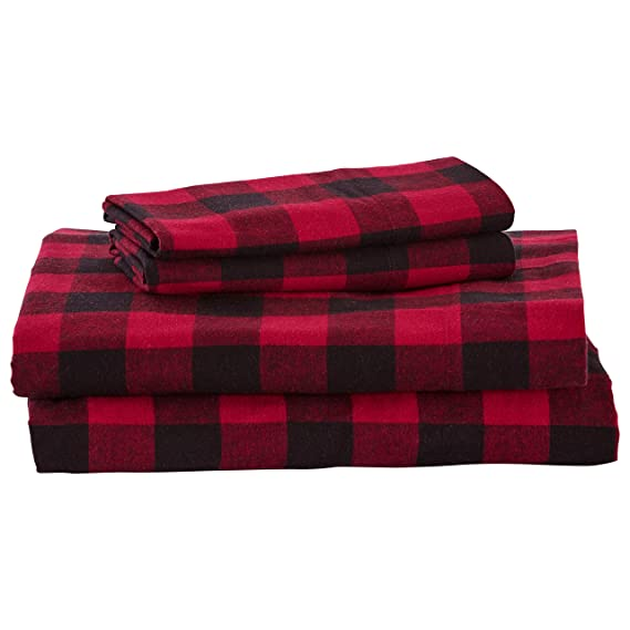 Stone & Beam Rustic Buffalo Check Flannel Bed Sheet Set, Full, Red and Black best full-sized flannel sheets