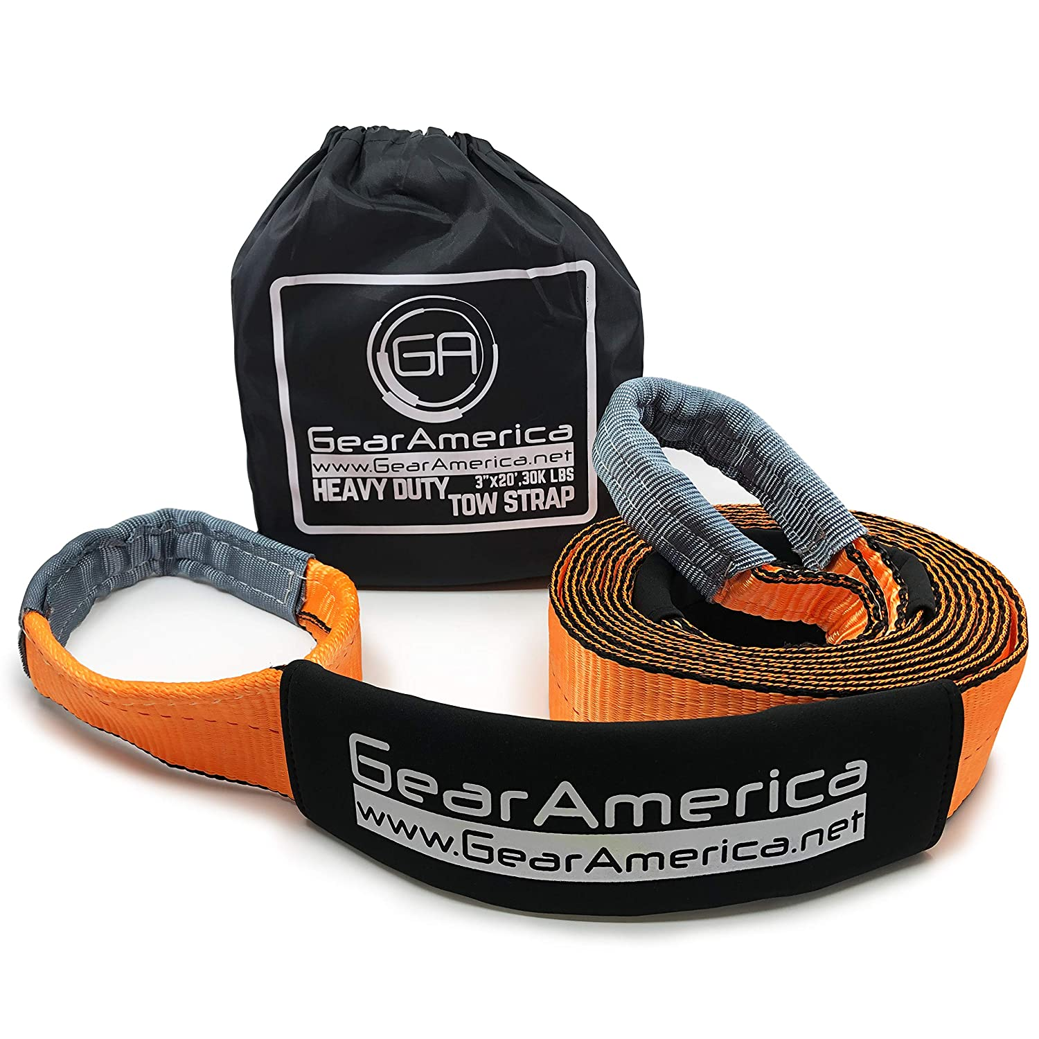Strength 20.7 Tons Recovery Tow Strap 4 x 30 Free Storage Bag Emergency Truck Towing Adjustable Protective Sleeves 2PK Strap Triple Reinforced Loops Heavy Duty Lab Tested 41,455 lbs