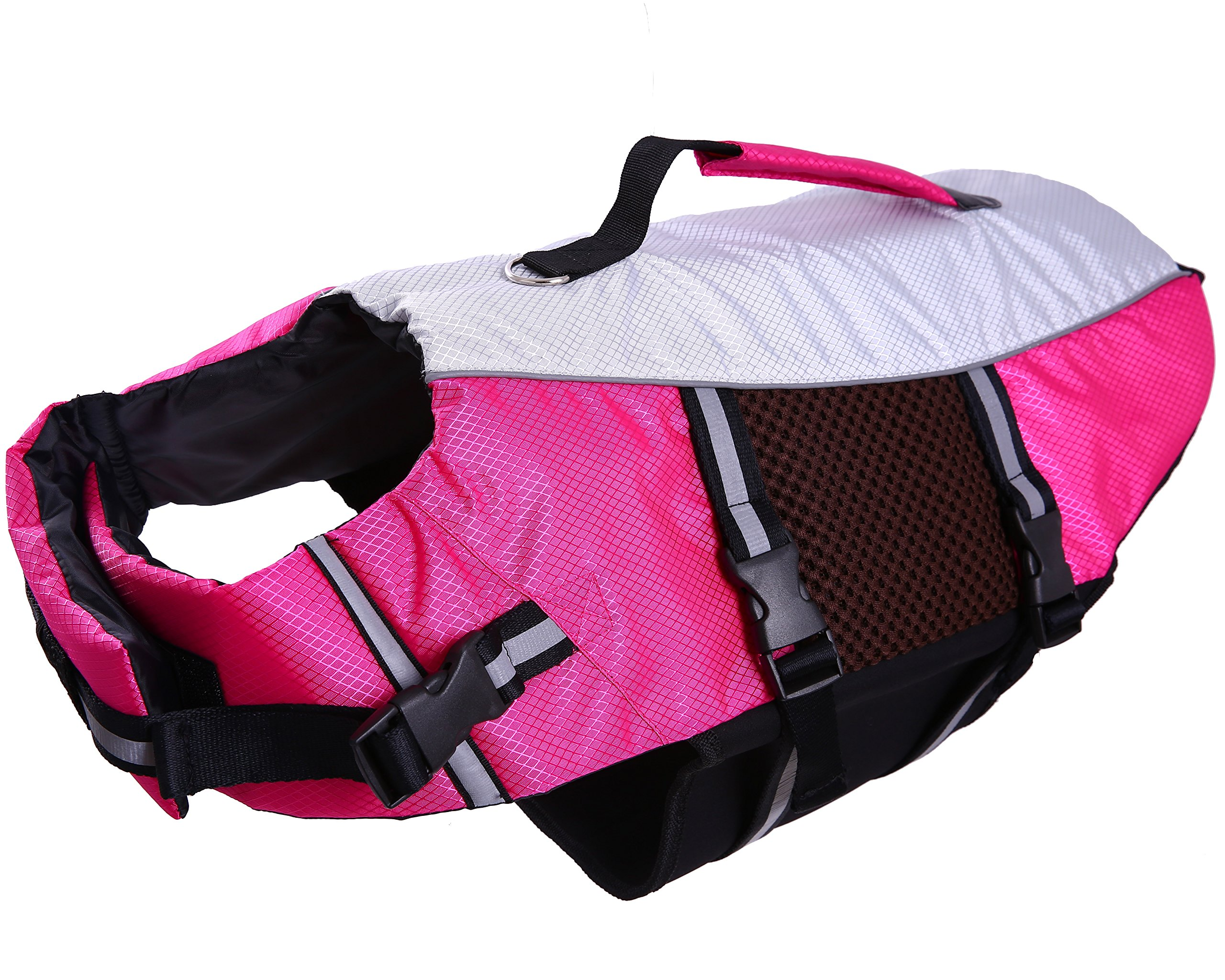 Dog Life Jacket Large ,Dogs Life Vests For Swimming Extra Large,Float Coat Swimsuits Flotation Device Life Preserver Belt LifesaverFlotation Suit For Pet BulldogWith Reflective Straps Rose xxl by QBLEEV