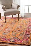 nuLOOM Traditional Vintage Claire Floret Damask Area Rugs, 4' x 6', Orange