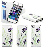 Apple iPhone 5 / 5S Purple Floral Print Pu Leather Book Magnetic Flip Wallet Case Cover Pouch With Detachable Internal Hard Case + Free Screen Protector & Screen Polishing Cloth