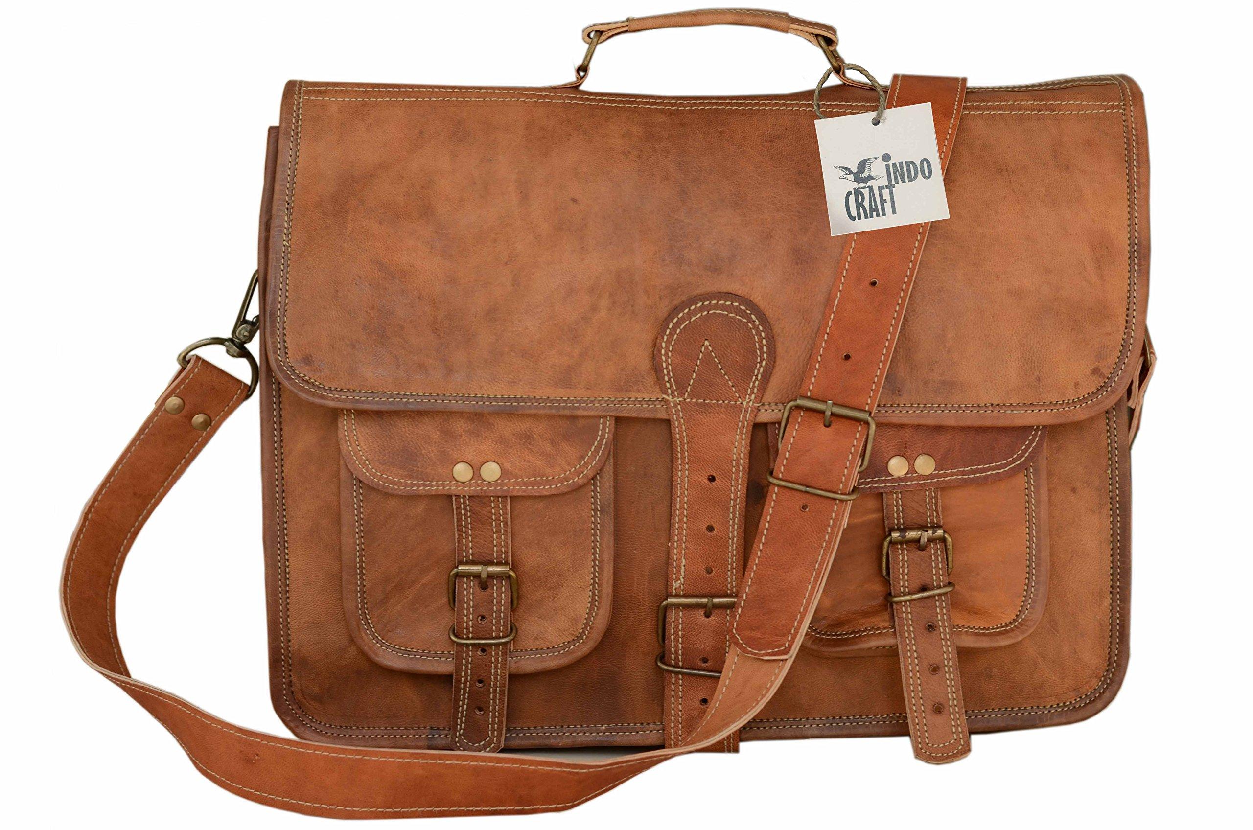 Indo Craft Leather Laptop Messenger Bag Half Flap Unisex 10