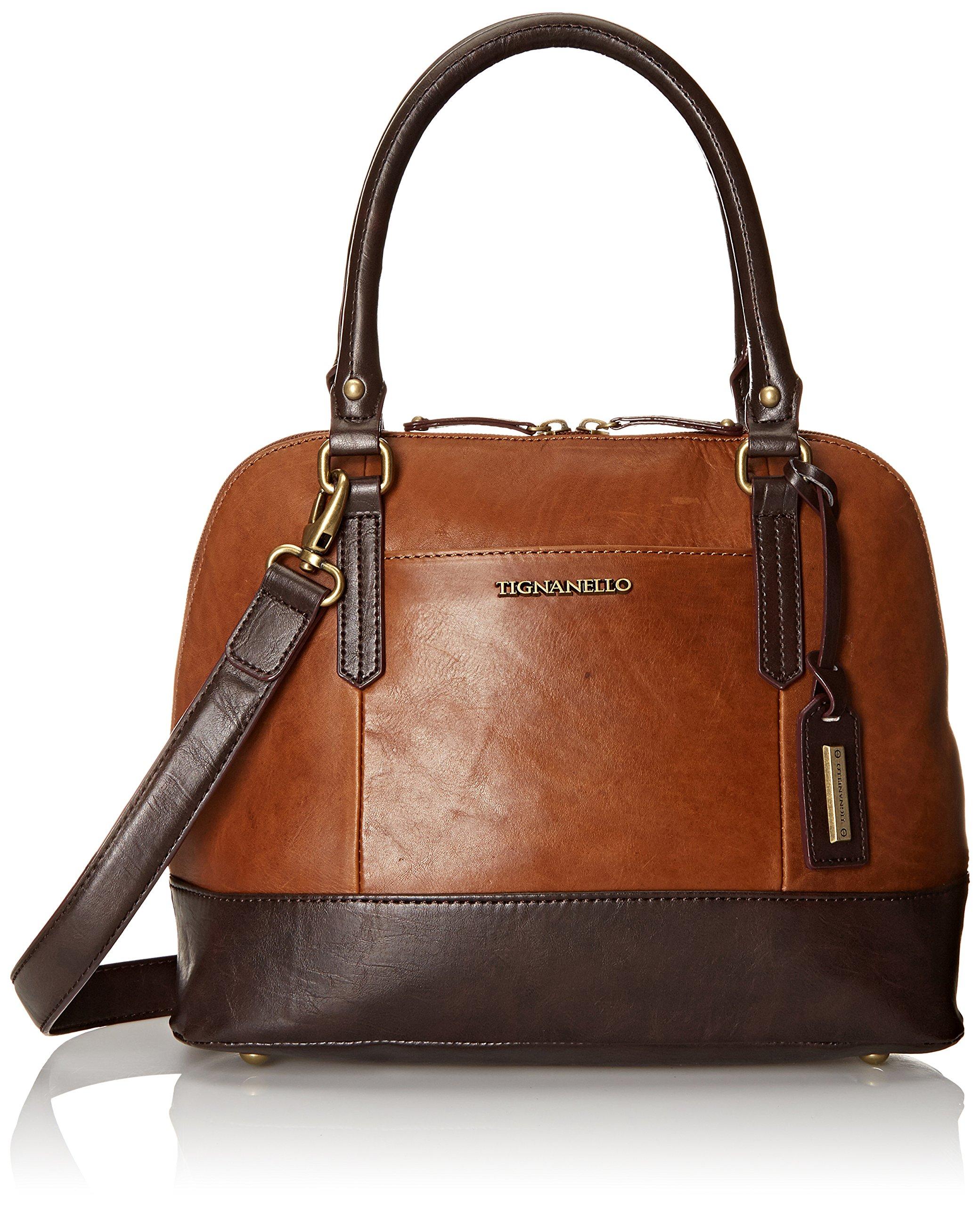 Tignanello Vintage Leather Accordian Satchel Shoulder Bag, Walnut, One Size