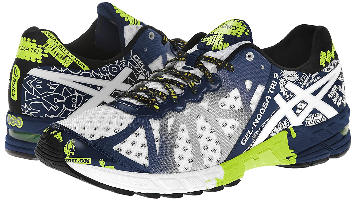 pretty nice c3eae 1b6e8 ASICS Men s Gel-Noosa Tri 9 Running Shoe,White Navy Flash Yellow,9.5 M US   Amazon.in  Shoes   Handbags