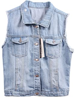 fba9576d49e74d CYSTYLE Damen Ausfransen Weste Jacke Ärmellos Einfache Beiläufige Jeansweste