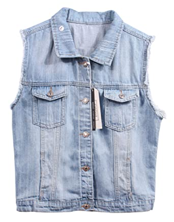 5b05095eabd852 CYSTYLE Damen Ausfransen Weste Jacke Ärmellos Einfache Beiläufige Jeansweste  (EU S=Asia M)