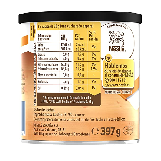 Nestlé La Lechera - Nestlé Dulce de Leche - 3 Paquetes de 397 g
