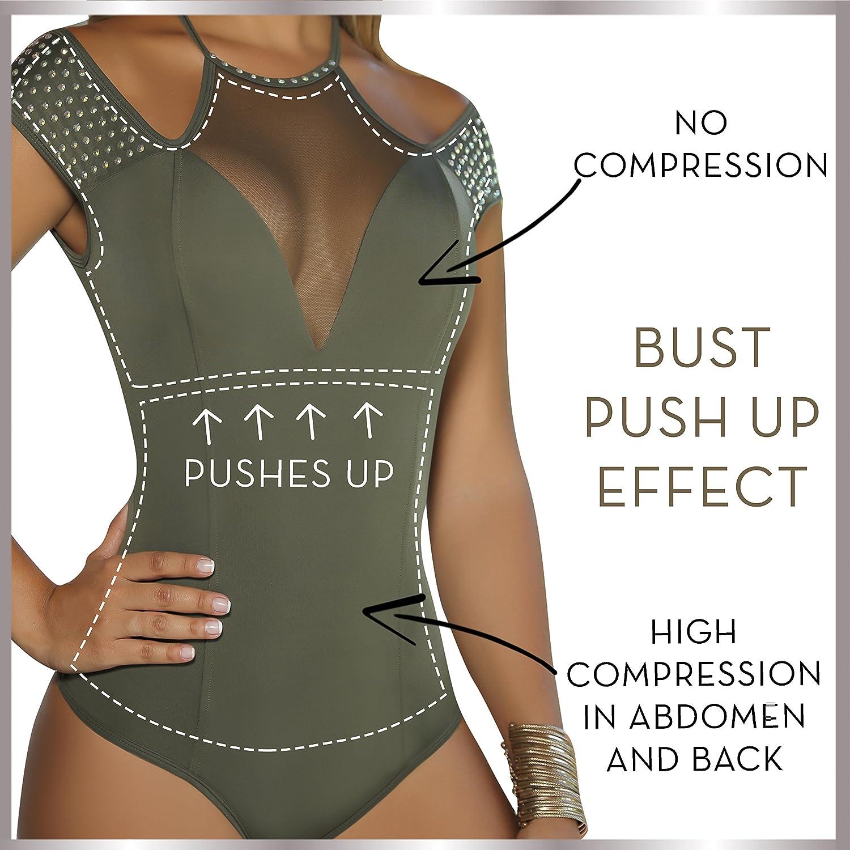 Aranza Blusa Faja Colombiana de Mujer - Bodysuit Body Shaper Blouse Womens Body Suit Shapewear Olive Green at Amazon Womens Clothing store: