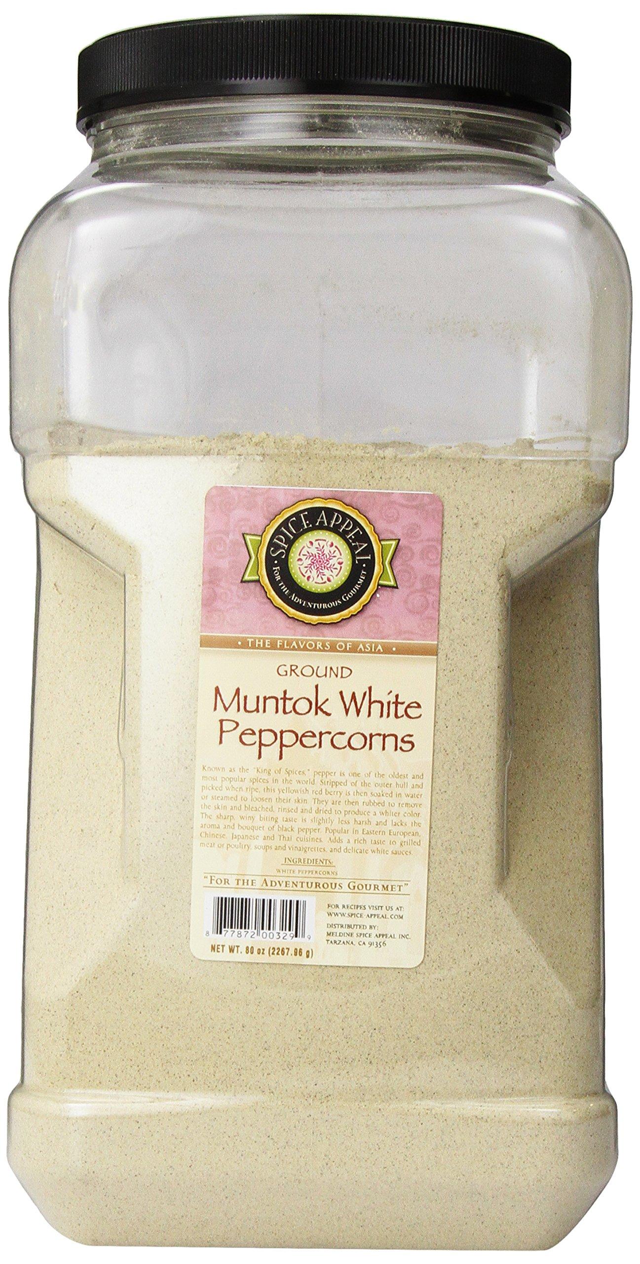 Spice Appeal Muntok White Peppercorns Ground, 80-Ounce Jar