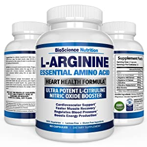 BioScience Nutrition L-Arginine 1000mg Plus 340mg with L-Citrulline Cardio Heart Supplements