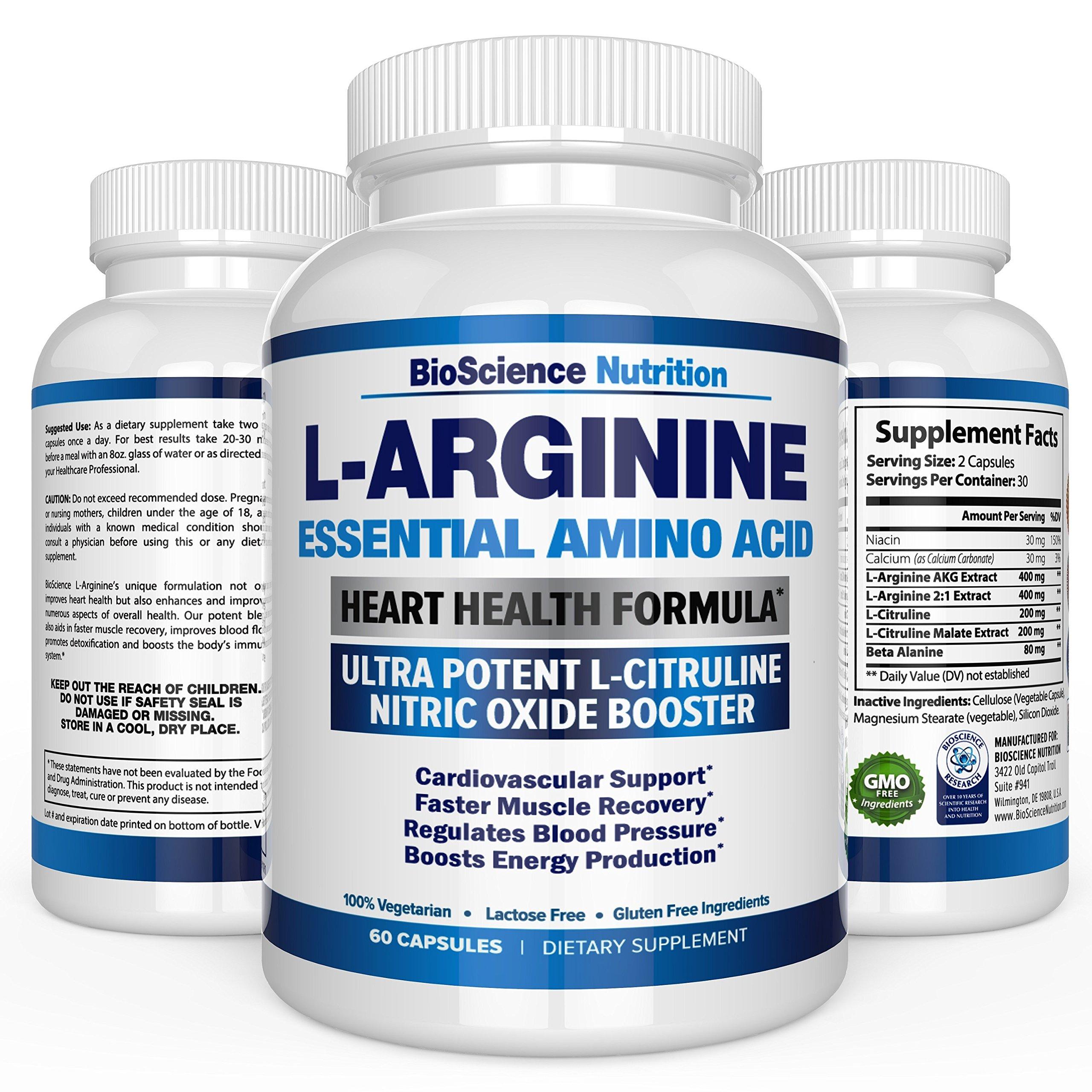 L-Arginine 1000Mg Plus 340Mg With L-Citrulline Cardio Heart Supplements | Nit.. 14