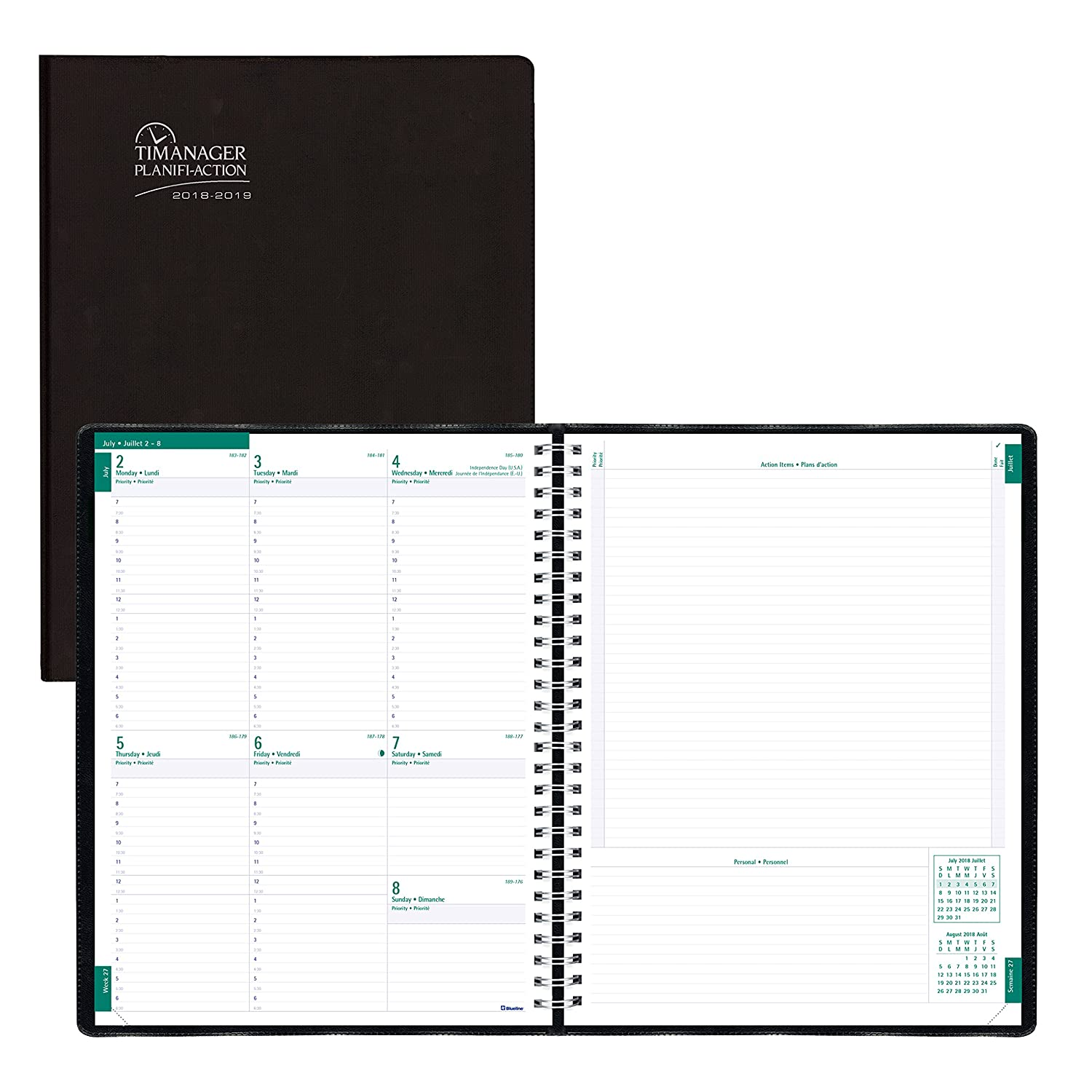 Blueline Timanager 2018-2019 Weekly/Monthly Academic Planner, July to July, 11x8-1/2, 5-Day Planner, Black, Bilingual (CA5941.81BT-2019) 11x8-1/2 Blueline Canada