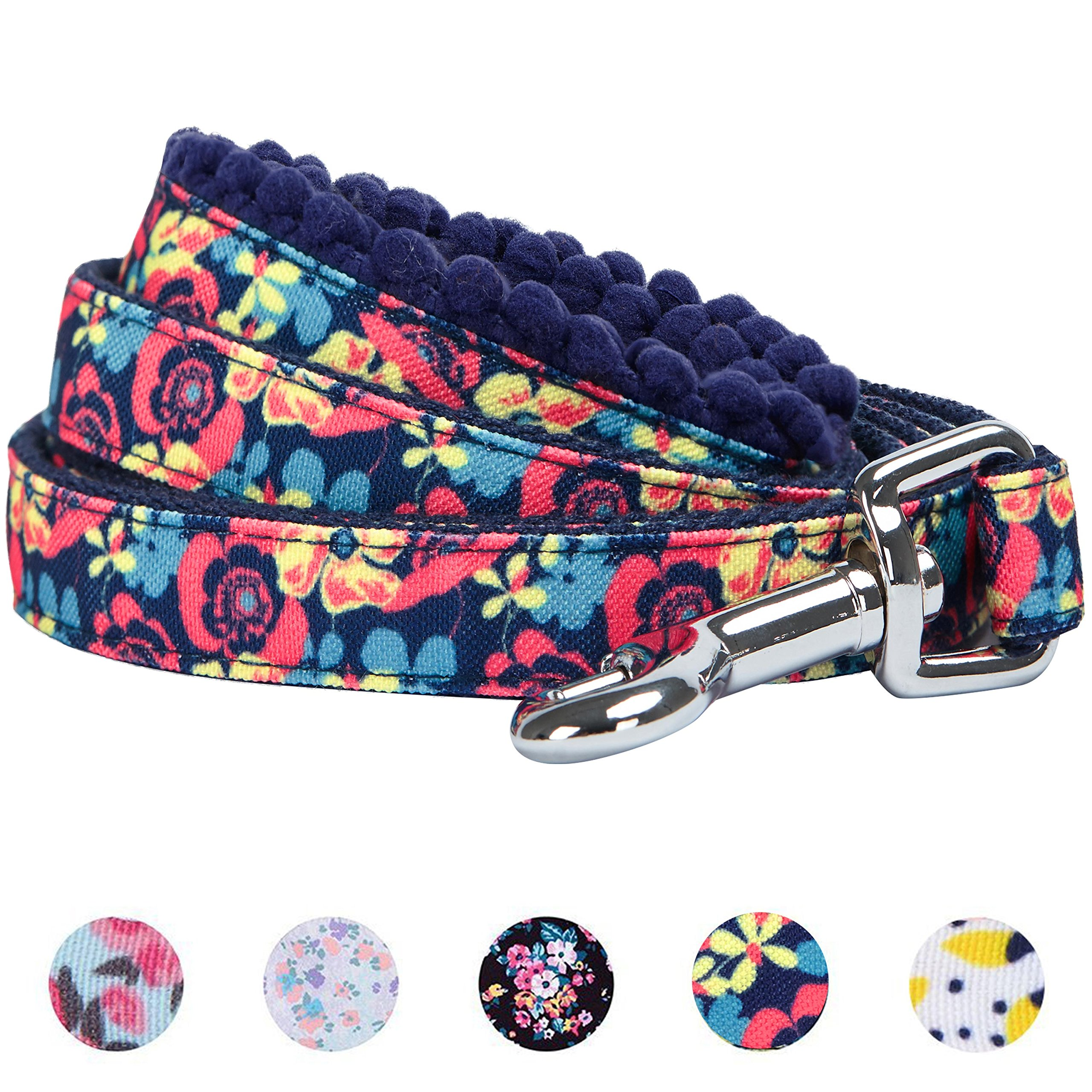 Blueberry Pet 5 Patterns Durable Spring Made Well Profound Floral Print Dog Leash in Navy, 5 ft x 5/8'', Small, Leashes for Dogs