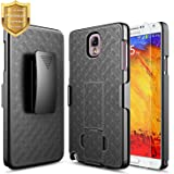 Galaxy Note 3 Case with [Tempered Glass Screen Protector], NageBee Combo Shell & Holster Case Super Slim Case w/ Built-In Kickstand [Swivel Belt Clip] For Samsung Galaxy Note 3 N900 - Black