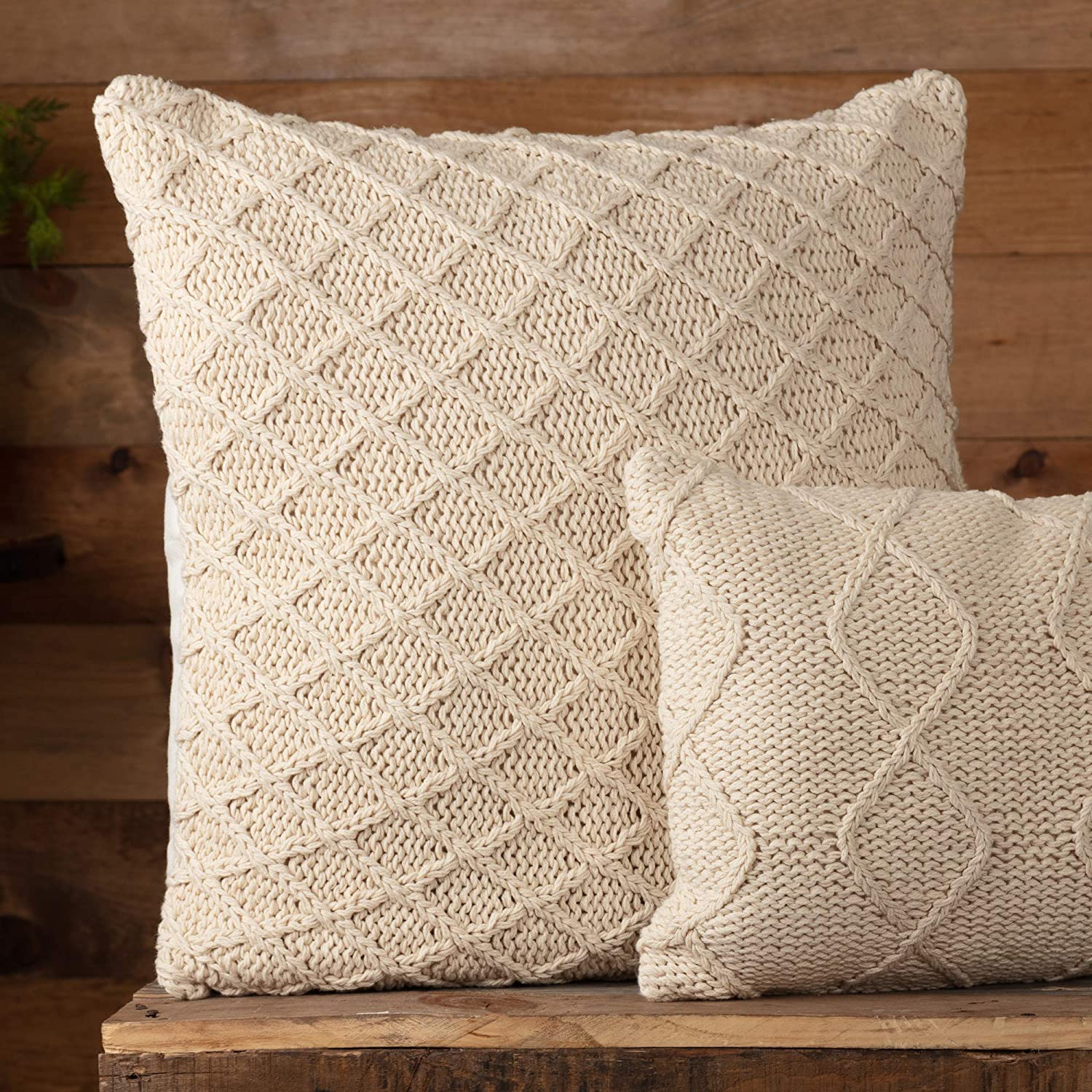"""Piper Classics Cozy Knit Throw Pillow Cover, 20"""" x 20"""", Machine Knitted Small Diamond Pattern, Modern Rustic Farmhouse Décor, Cream Yarn Accent Pillow"""