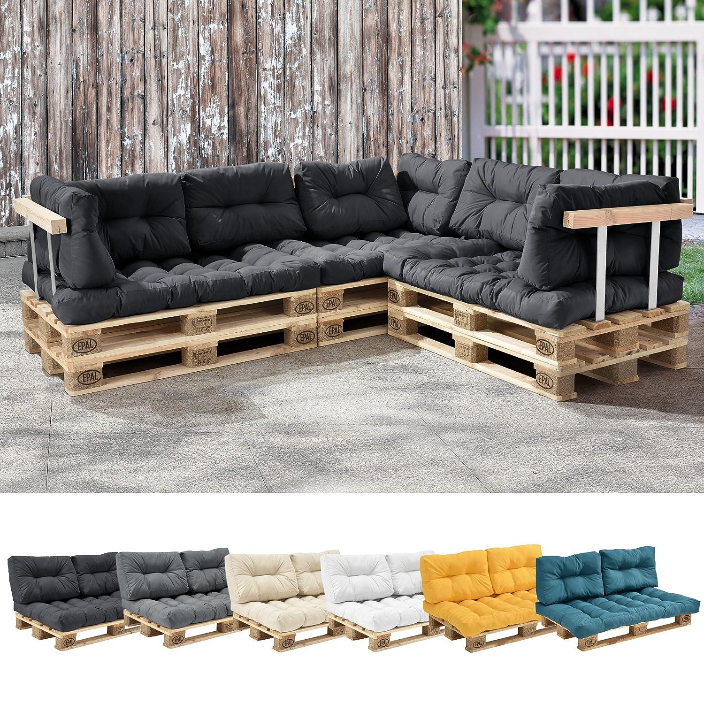 [en.casa]]® Seat and Back Rest Cushion for Euro pallet - dark grey [en.casa]®