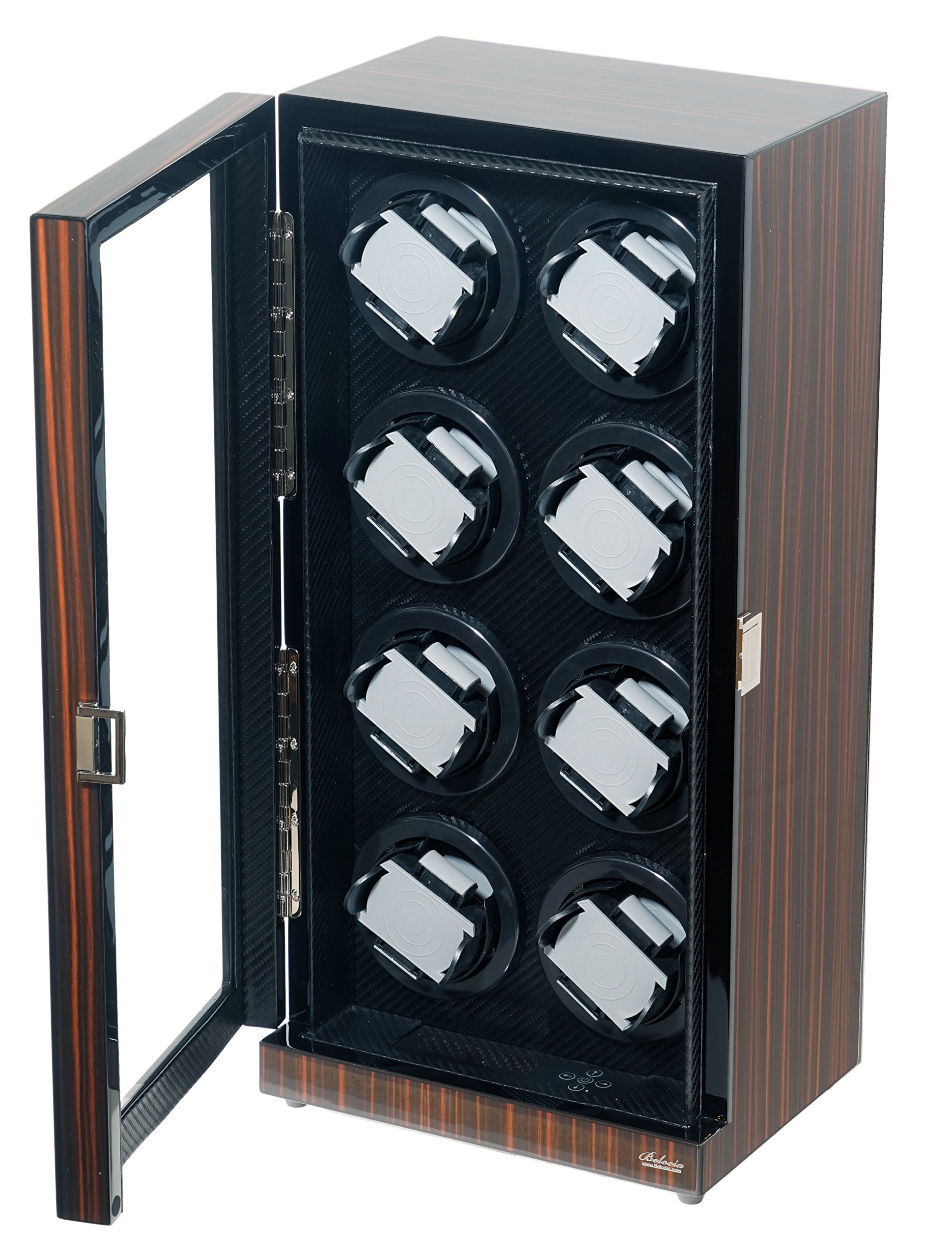 Watch Winder Ebony Wood W/LCD Display For Automatic Watches. (Ebony/Carbon Fiber W12)